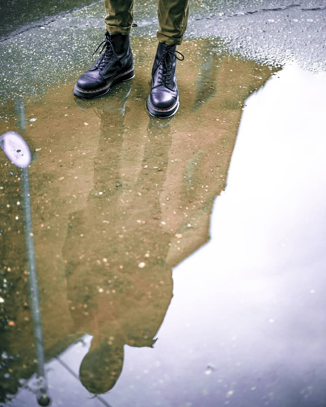 I see my reflection in the window It looks different, so different than what you see🌚 😂 😱 🔥 #water#reflection#drmartens#rain#rainyday#sky#cloudy#cloudyday