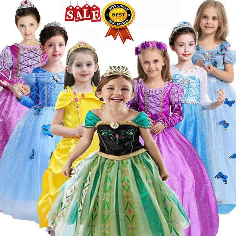Kids Cinderella Dress Up Girls Princess Costume Fairytale Belle Aurora Rapunzel