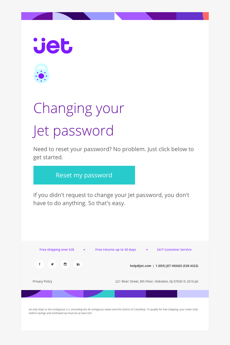 Jet Com Sent This Email With The Subject Line Reset Your Jet Password Read About This Email And Email Design Email Marketing Template Email Template Design