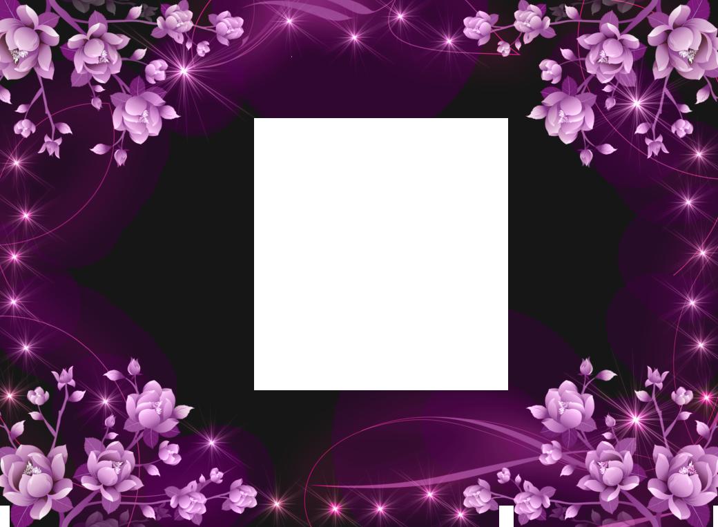 transparent pink flowers frame