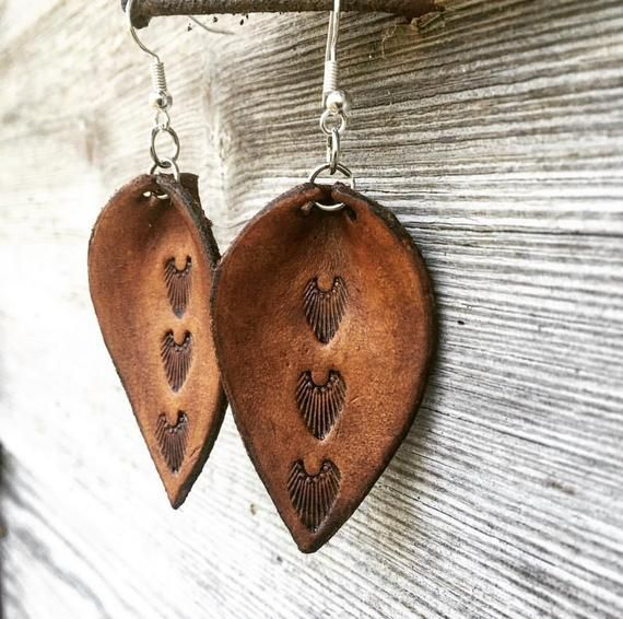 Photo of Hand Tooled Leaf Shape Chestnut Brown Leather Earrings