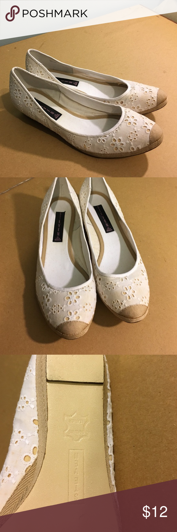 Steven by Steve Madden Flats/Espadrilles RARE!! White and beige with small wedge. Worn couple of times. Cant buy this style no more. Leather sole. Steven by Steve Madden Shoes Flats & Loafers