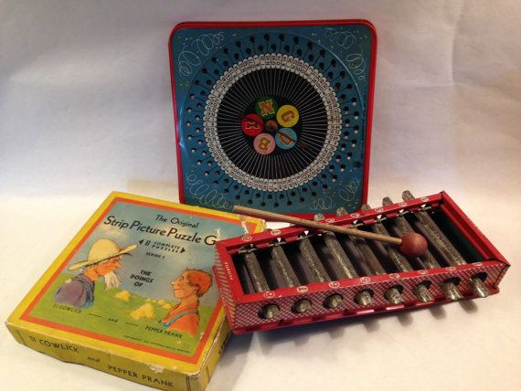 A Box Full of  1930s Toys Includes by donnapaperscissors on Etsy
