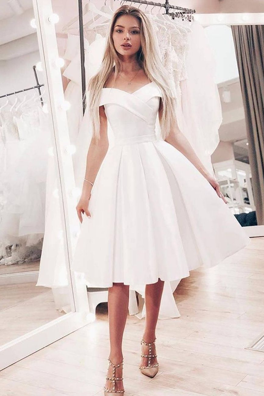 Off The Shoulder Criss Cross Knee Length Wedding Dress Knee Length Wedding Dress Wedding Dresses Simple Ball Gowns Wedding