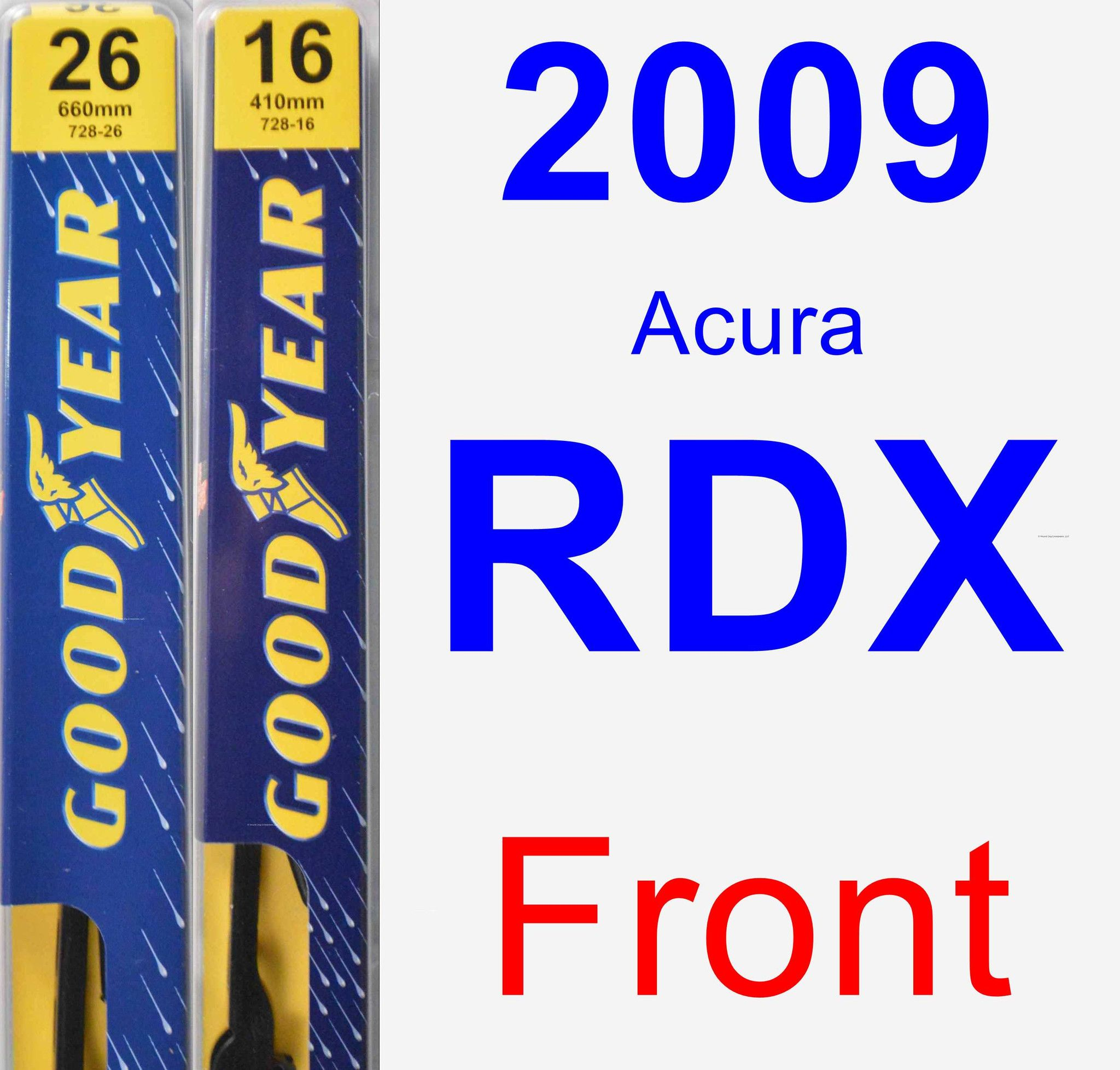 Front Wiper Blade Pack For 2009 Acura RDX