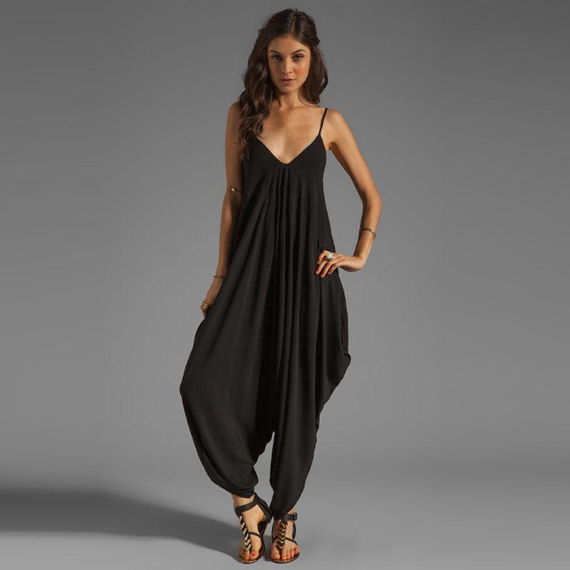 New Fashion Women Jumpsuit Deep V Neck Spaghetti Straps Maxi Long Rompers  Playsuit Pants Black