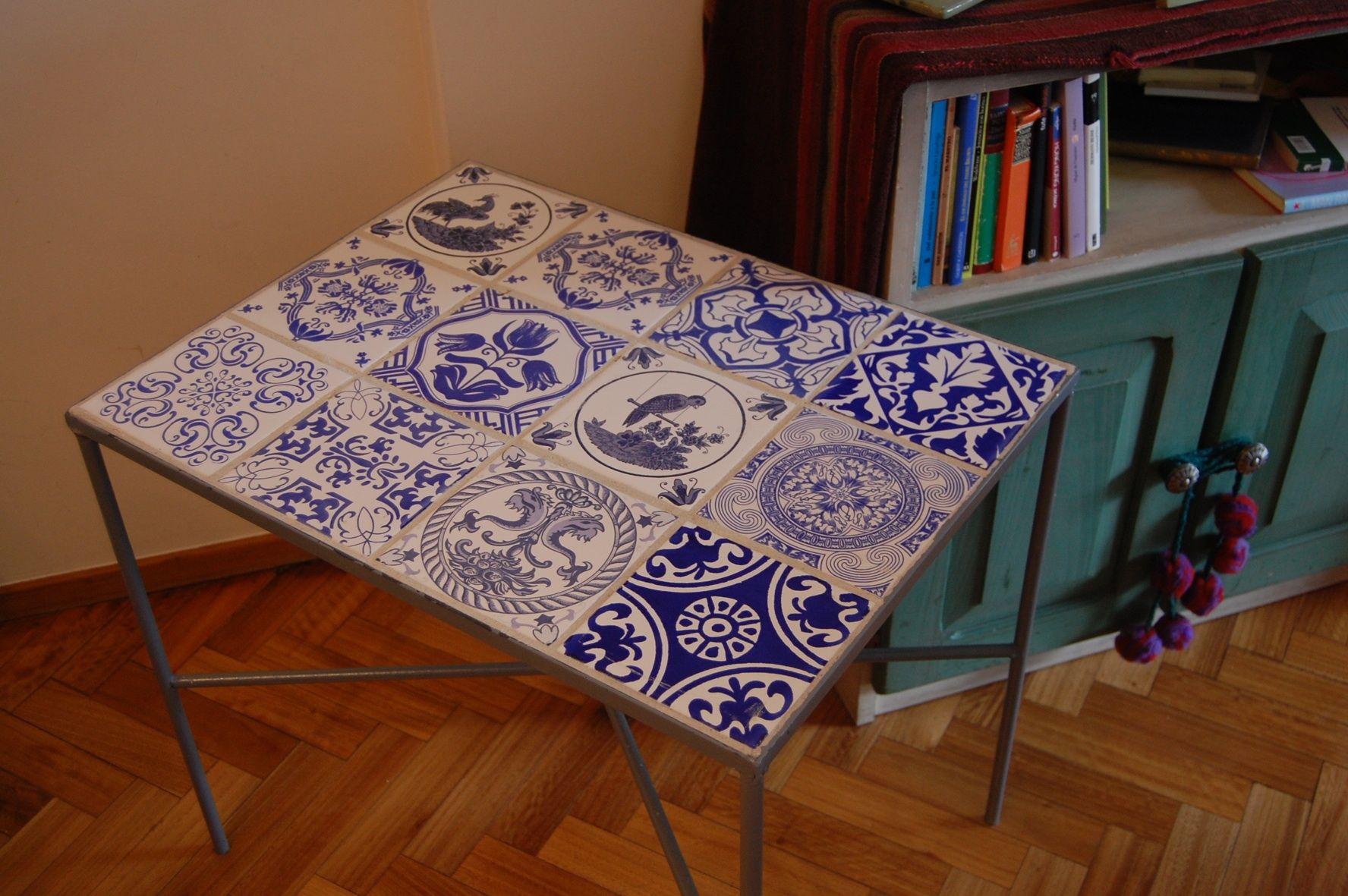Mesa de hierro con azulejos cocinas pinterest mesa - Mesas con azulejos ...