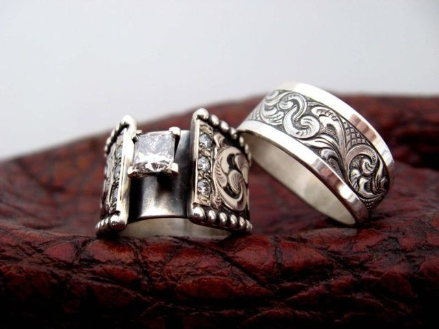 travis stringer western wedding rings bride and groom Rings that