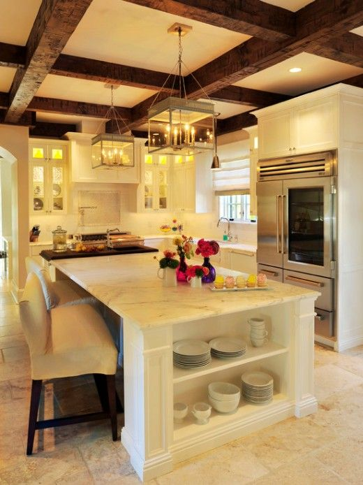 Kitchen With Wood Beam Ceilings Home Kitchens Dream Home Design