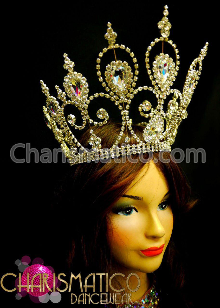 CHARISMATICO Amber accented beaded golden open work cap star burst headdress