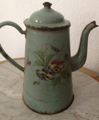 Vintage French enamel coffee pot  xo--FleaingFrance