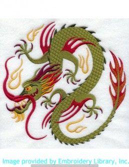 Stickmotiv Stickbild Aufnäher Stickerei Emblem Drache  Drache /  Stickerei Chinese Dragon Circle (C3791)