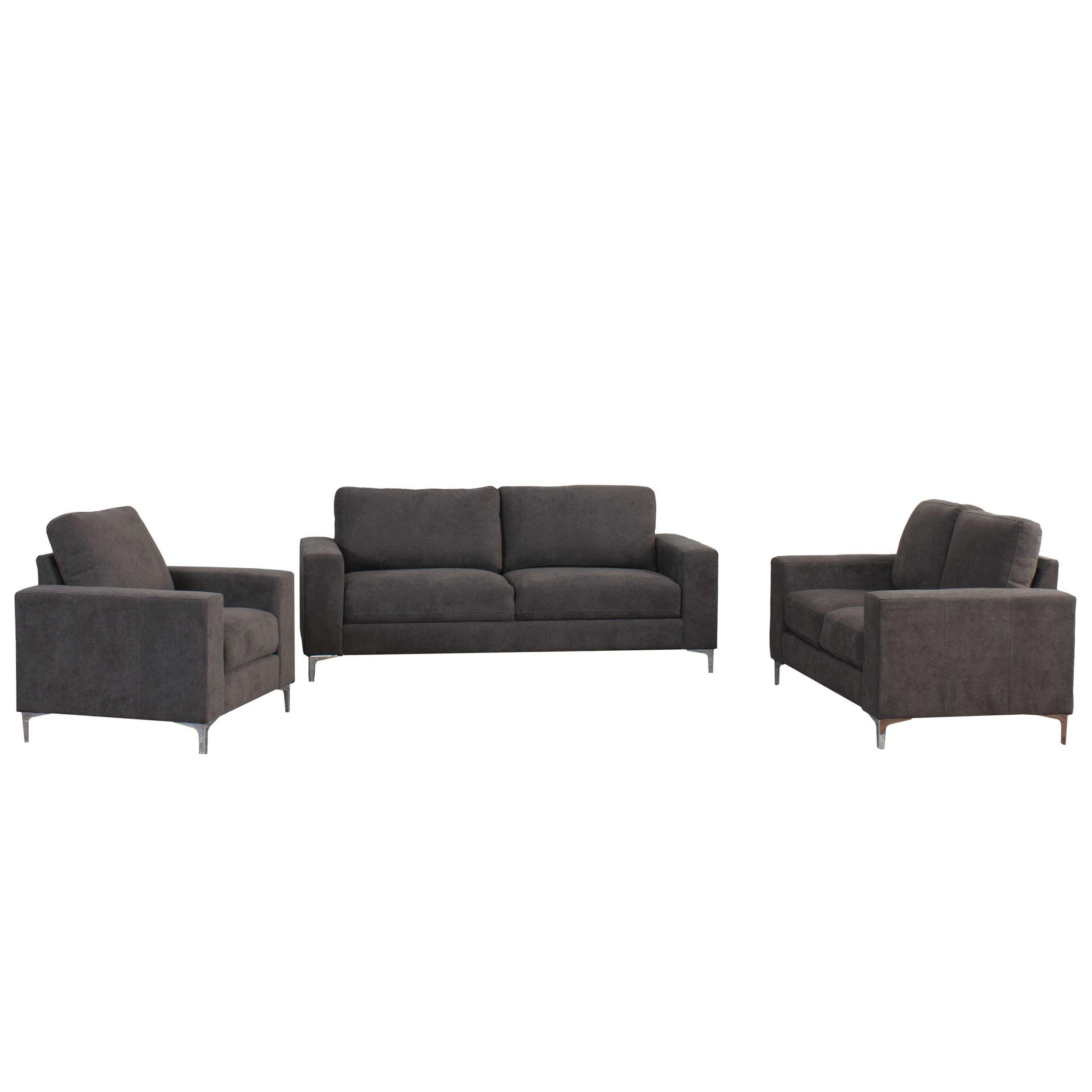 CorLiving Cory 3pc Chenille Fabric Sofa Set Grey