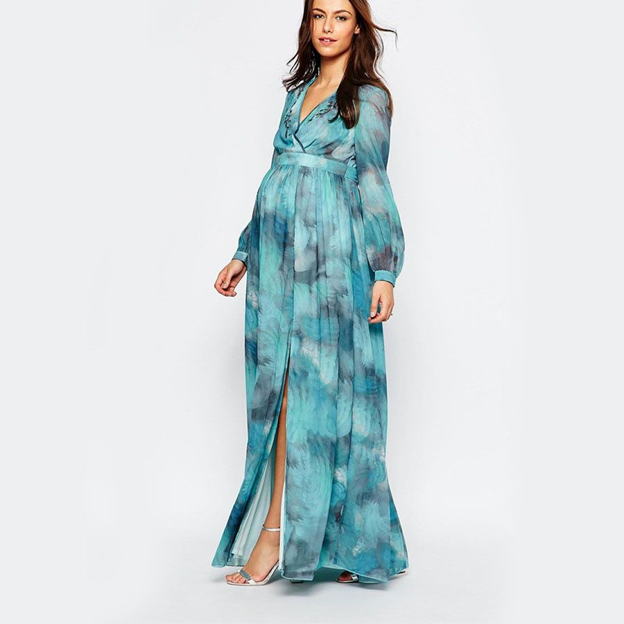 Maternity Printed Maxi Long Sleeve Maternity Dress For Muslim With ...