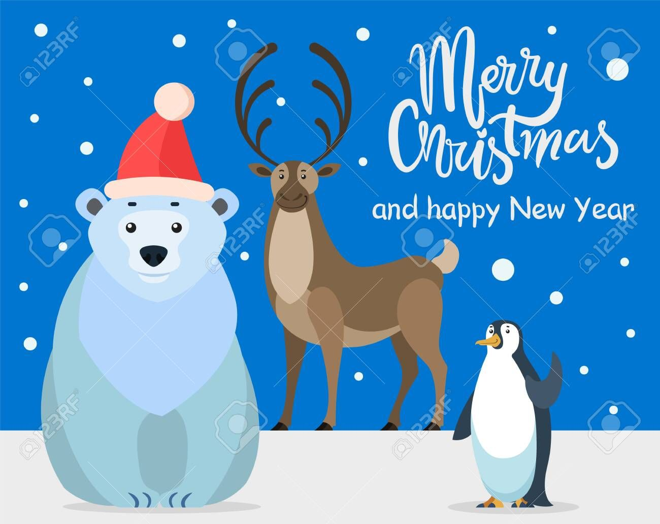 Polar white bear, emperor penguin and north reindeer, cartoon characters. Merry christmas greeting card. Preparing for winter holidays. Illustration , #sponsored, #north, #penguin, #cartoon, #reindeer, #white