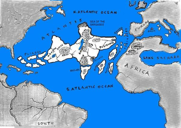 The Lost Civilization Of Atlantis Note Large Lake In N Africa