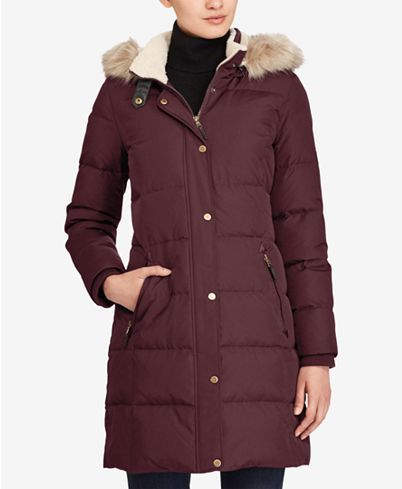 Lauren Ralph Lauren Faux-Fur-Trim Quilted Down Coat ...