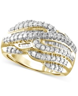 Diamond Multi-Row Statement Ring (1 ct. t.w.) in 14k Gold-Plated Sterling Silver or Sterling Silver -