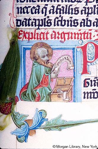 Bible, MS M.833 fol. 377r - Images from Medieval and Renaissance Manuscripts - The Morgan Library & MuseumApostle, Paul: Letter to Thessalonians -- Apostle Paul, nimbed, with both hands, is holding scroll inscribed PAULUS ET SILUA(N)U(S) beside open box with lock, containing scrolls.