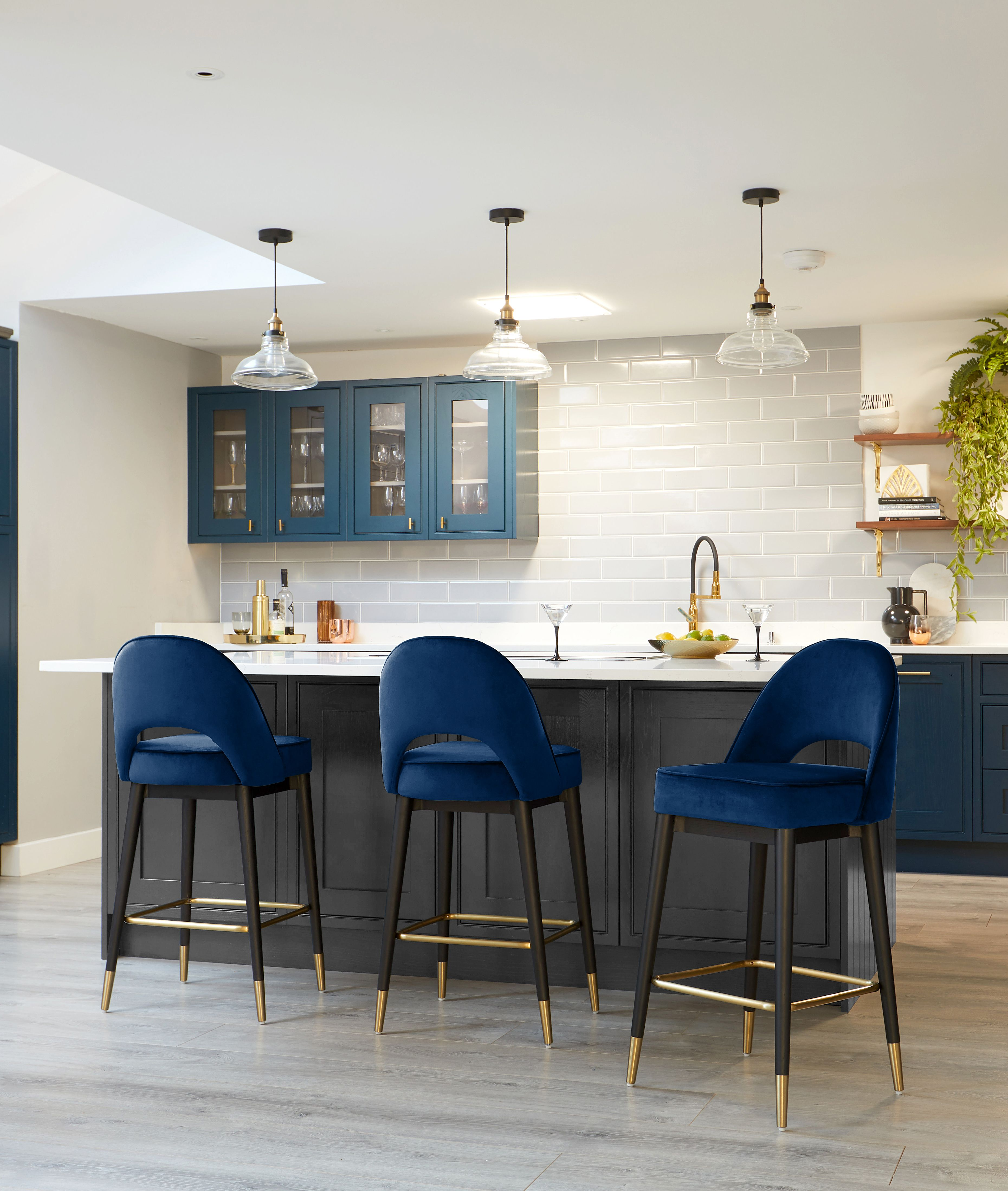 Clover Dark Blue Velvet Bar Stool   Blue bar stools, Bar stools ...
