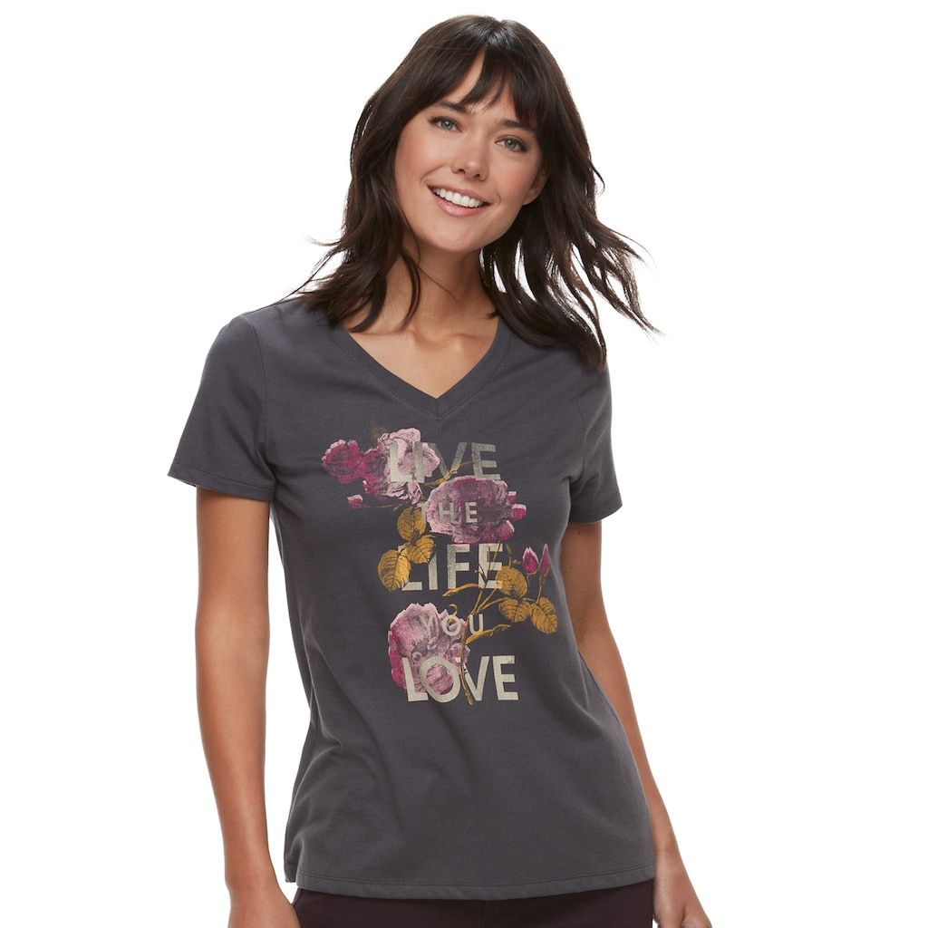 """fff3157063a Women s SONOMA Goods for Lifeâ""""¢ V-Neck Graphic Tee"""