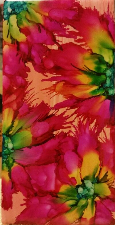 Flower In Alcohol Ink By Tina Encres A L Alcool Aquarelle Et