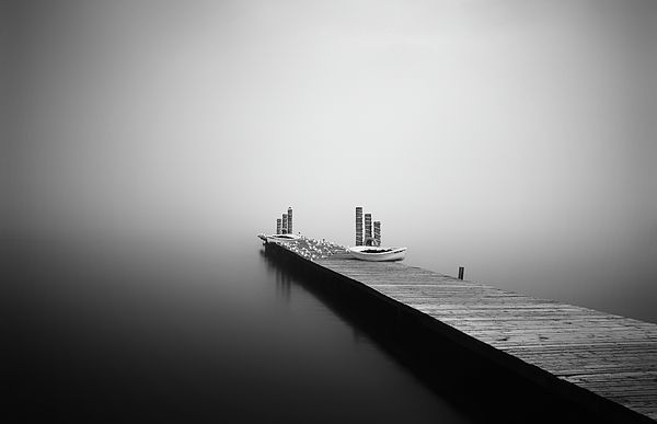 Boat Jetty in the mist by Grant Glendinning