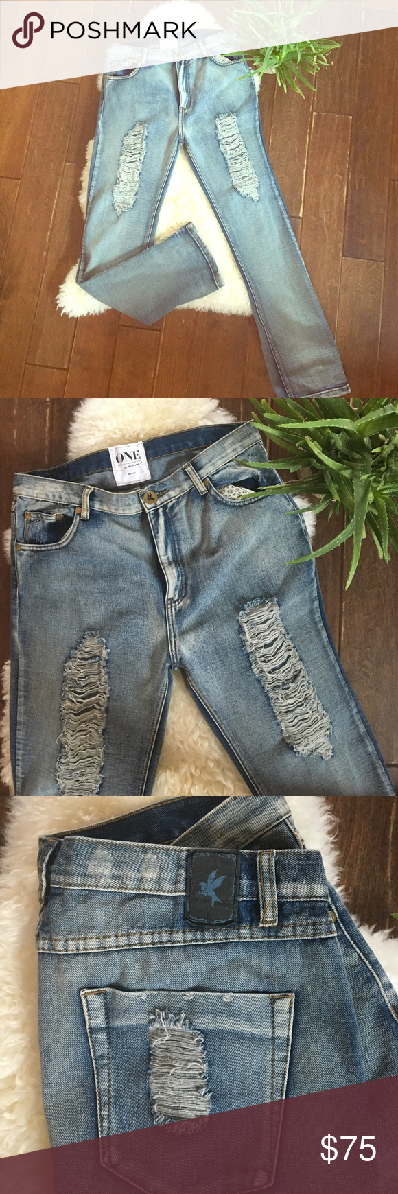 """One teaspoon baggies size 30 🌵 Reposh because they don't fit. So awesome!!!! One teaspoon make the coolest distressed jeans. These ones are great bc they aren't to distressed to wear every day!! I've included lots of measurements bc although they are 30's one teaspoons run all over the place. I'm an 8 and they are way to big. See pics for some measurements. Also bottom of leg opening is 8"""" across. Wish these fit!!! Would trade for other OT in my size. I believe these are NWOT 🌵✌🏻️ One…"""