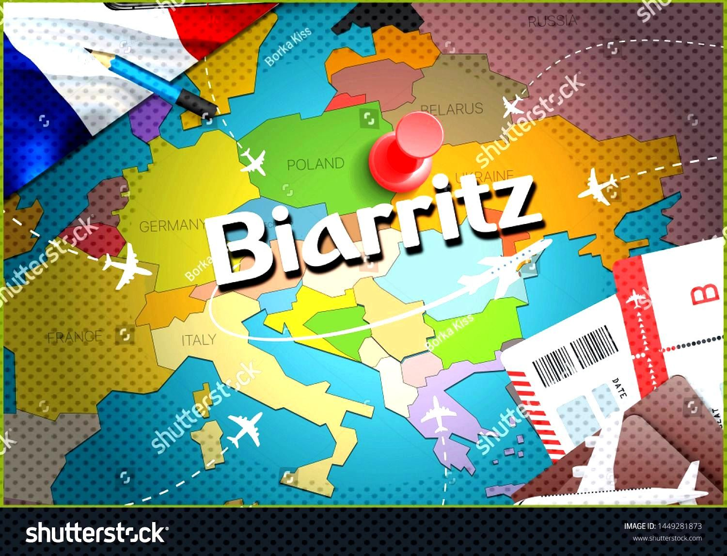 Biarritz city travel and tourism destination concept. France flag and Biarritz city on map. France
