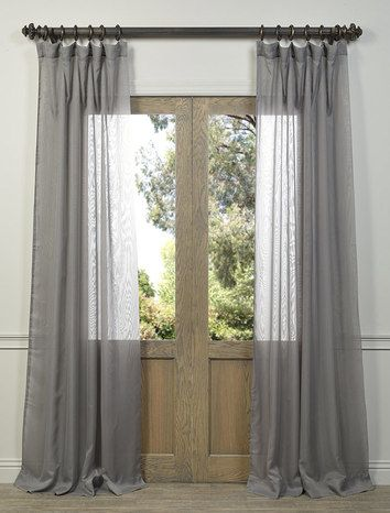 Signature Double Layered White Sheer Curtain Gray Sheer Curtains