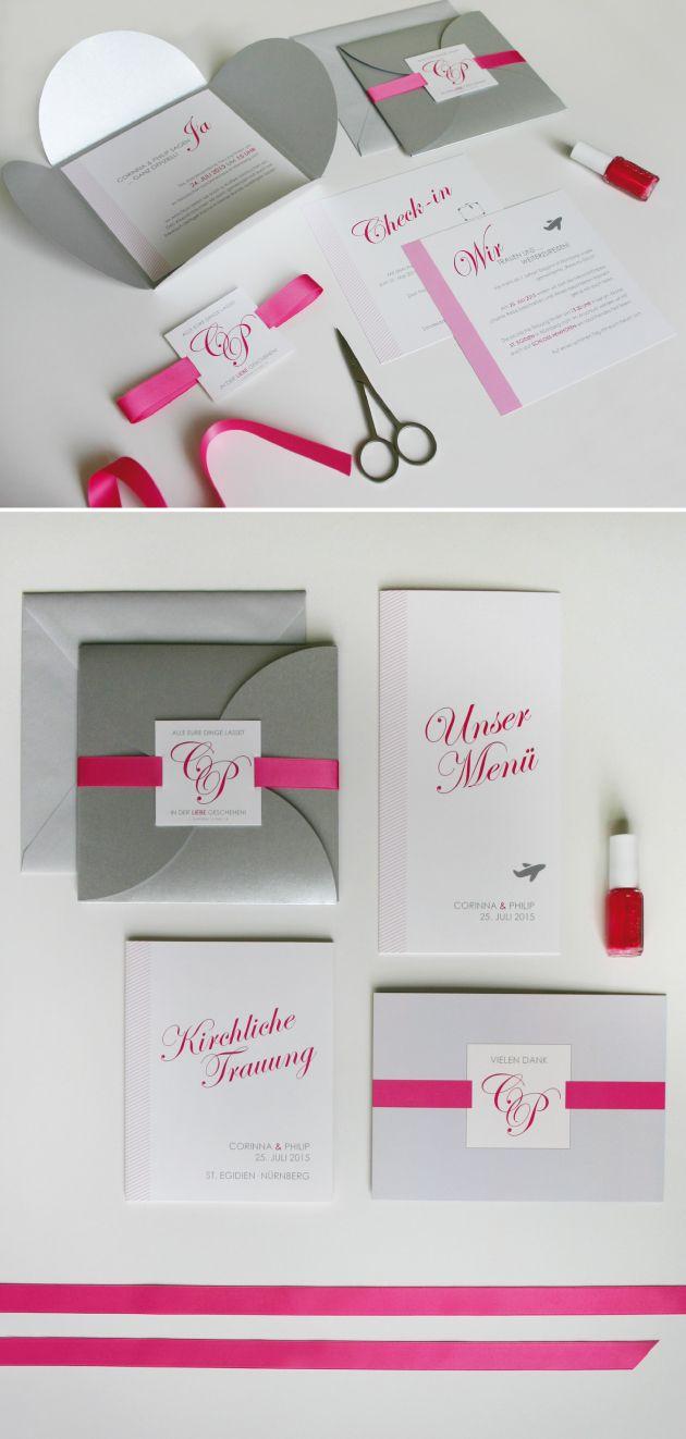 Edle Pocketfold Hochzeitseinladung In Pink Und Silber