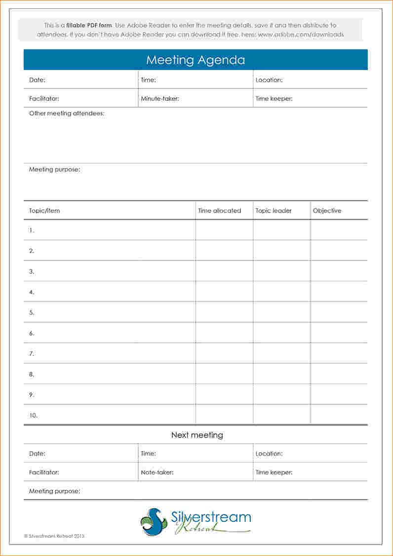 Fillable Meeting Agenda Template Wellington Wedding Conference