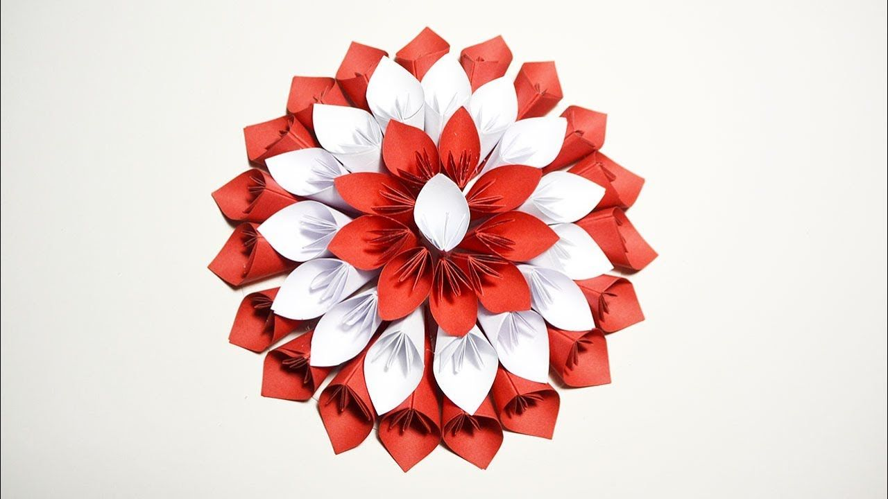 Big flower red and white for wedding decoration paper origami big flower red and white for wedding decoration paper origami tutorial diy https mightylinksfo Image collections