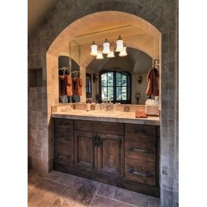 Chisholm Beaded AM Bath, Custom Cupboards