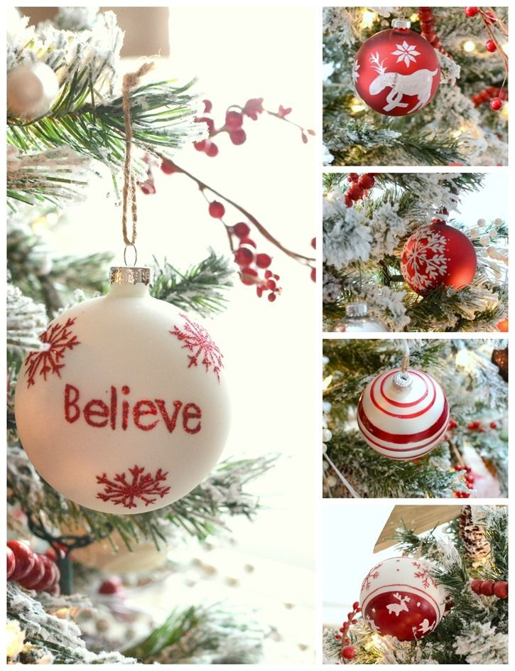 Red and white Martha Stewart Living™ Nordic Ornaments on @frugalhomemaker's Christmas tree look ...