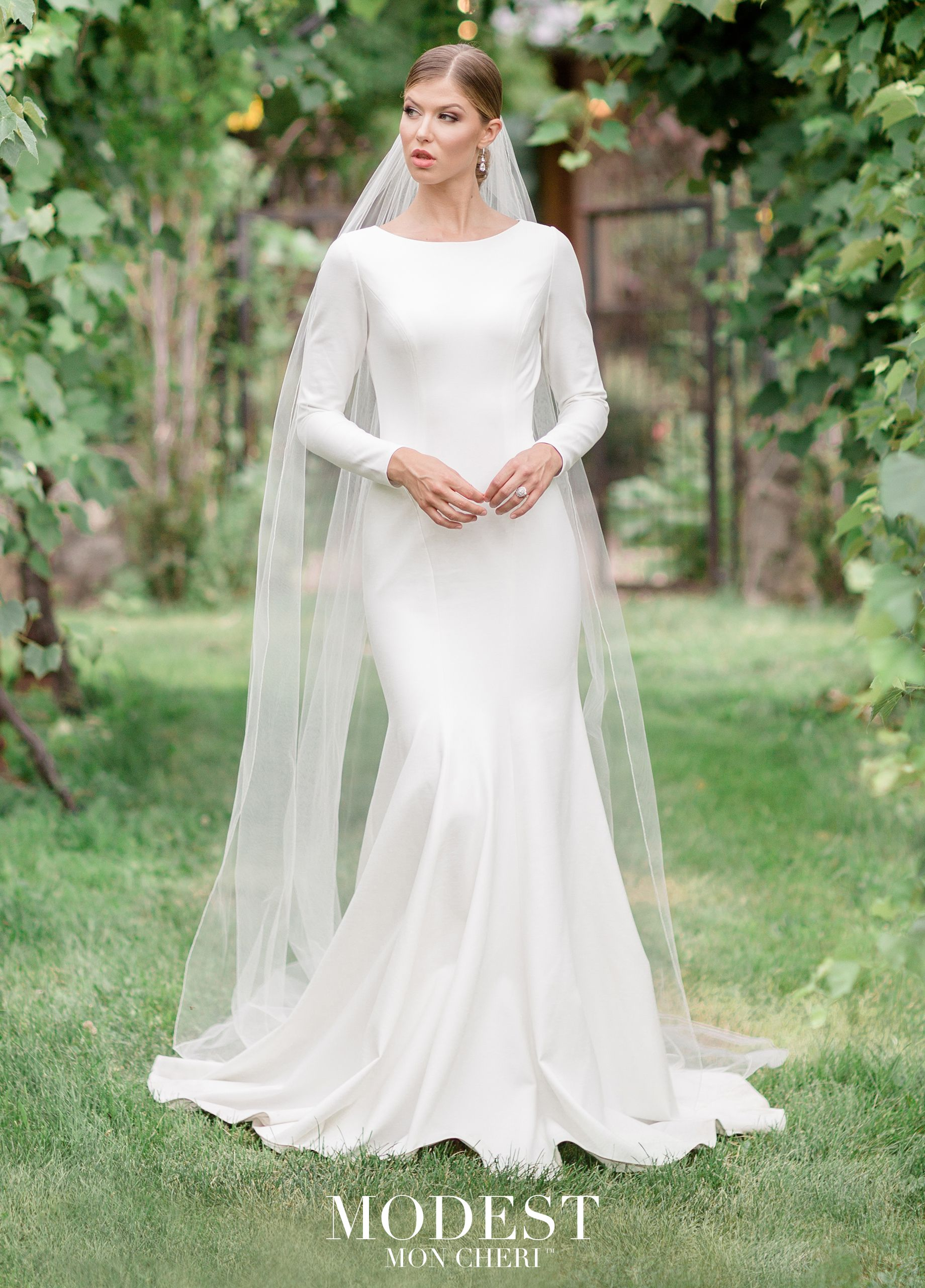 Modest Wedding Dresses Tr11988 Simple Elegant Stretch Jersey Mermaid Gown Features Long Sleeves Scoop Neckline Princess Seams Zipper Back With