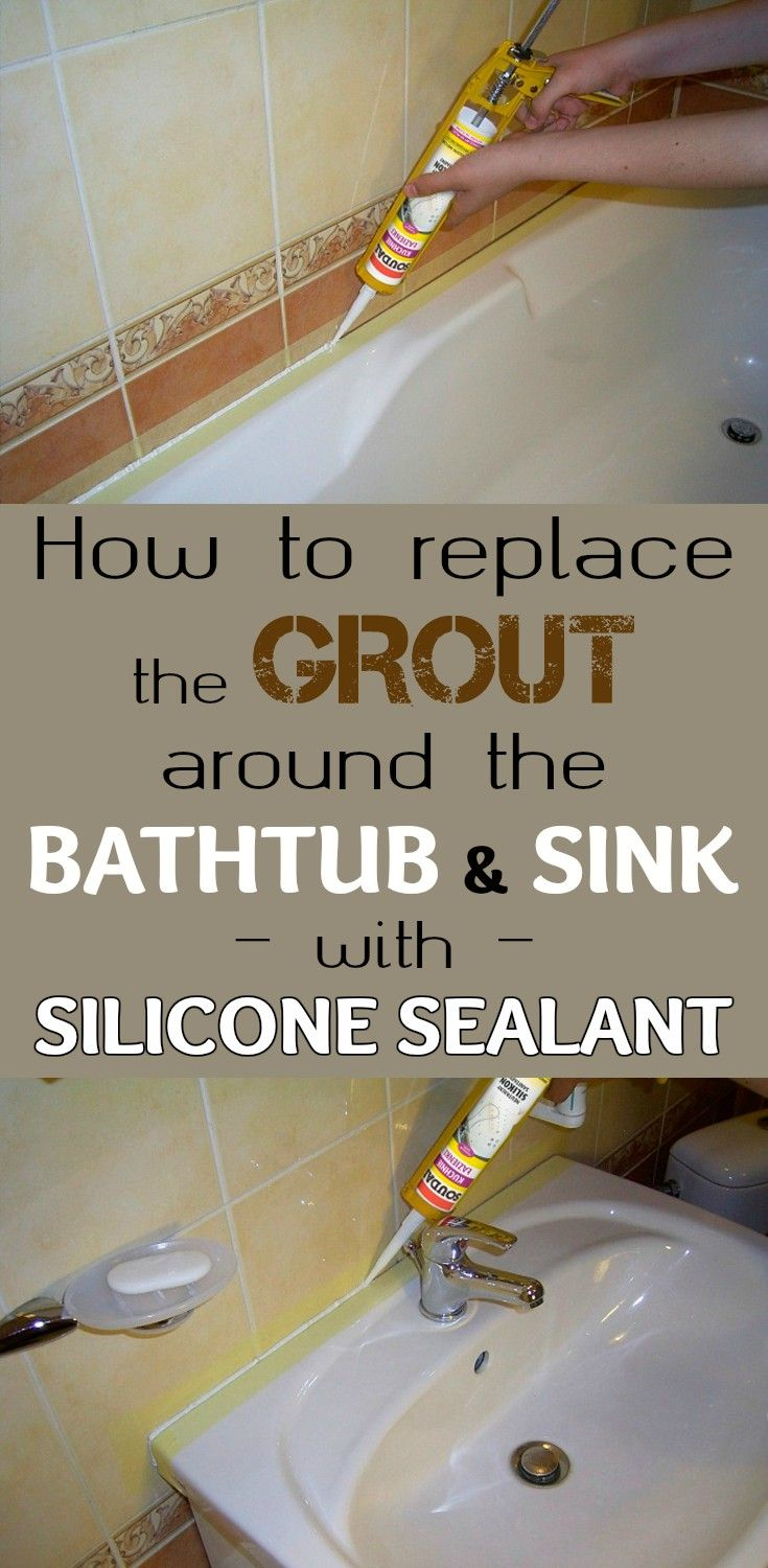 How To Replace The Grout Around The Bathtub And Sink With Silicone Sealant 101cleaningtips Net Sealant Grout Cleaning Hacks