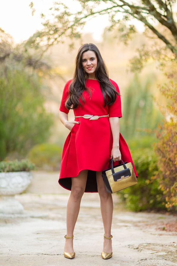 eda9a4943 Xmas Red Dress | outfit para oficina | Vestido rojo navideño ...