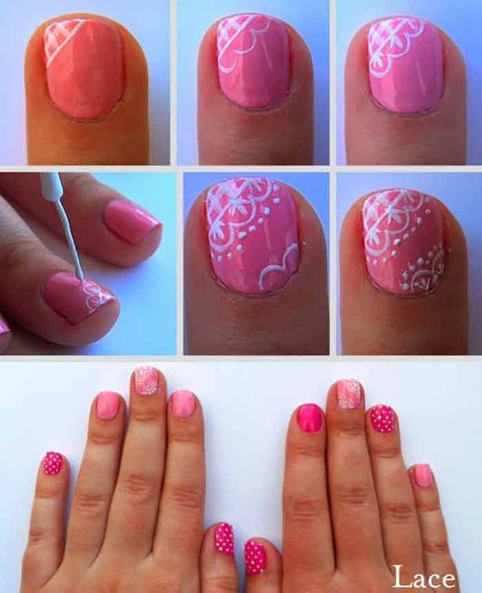 Top 60 Easy Nail Designs For Short Nails 2019 Update Valentines Nails Lace Nails Lace Nail Art