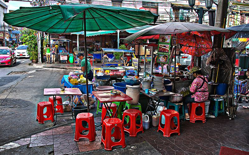A street restaurant in the near of the khaosan road in