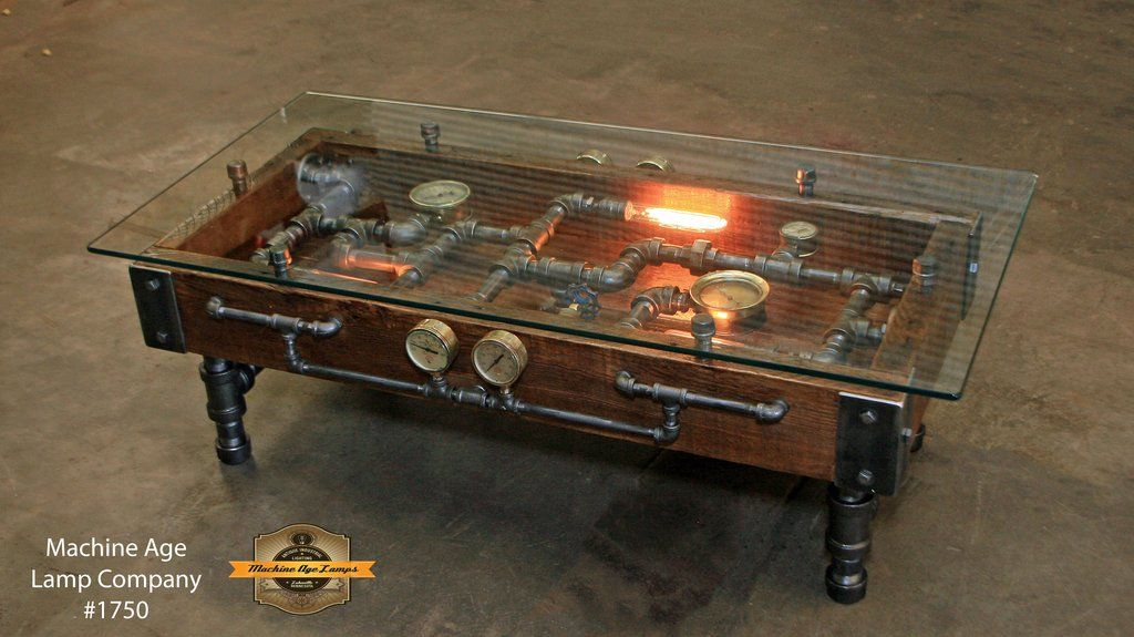 Steampunk Industrial Table Coffee Barn Wood Gauges Glass Table 1750 Industrial Furniture Industrial Design Furniture Industrial Table