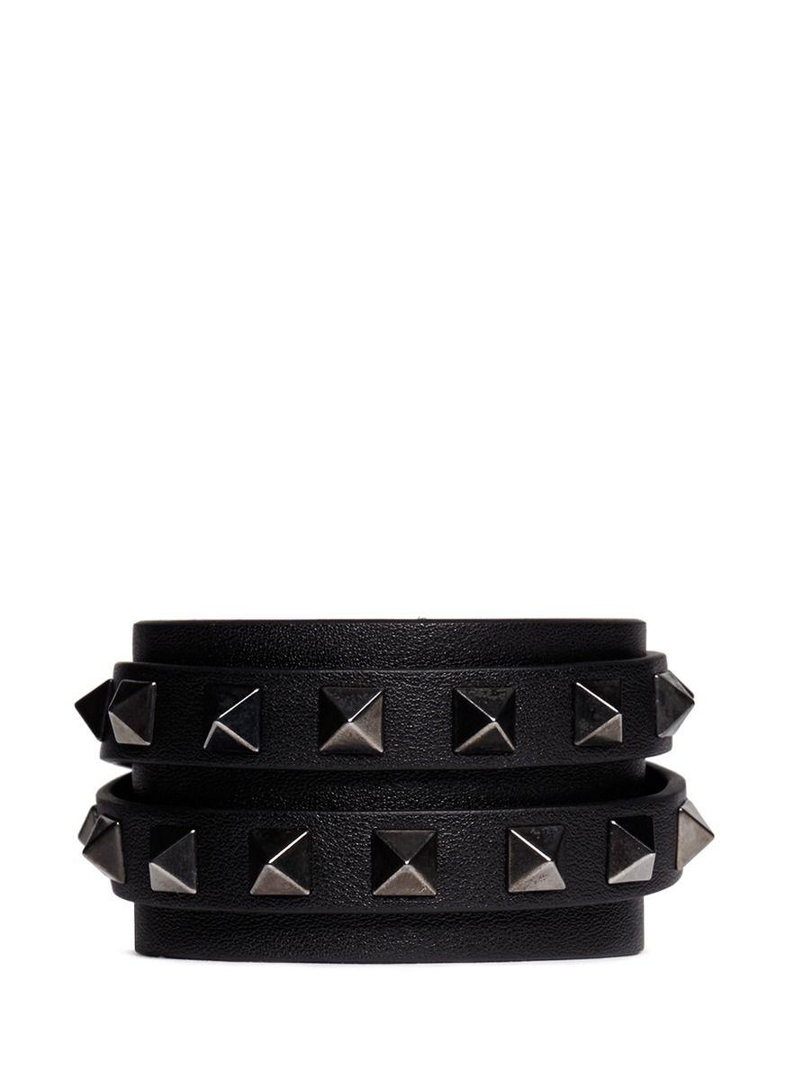 VALENTINO - 'Rockstud' double wrap leather bracelet | Black Bracelet Fashion Jewellery | Womenswear | Lane Crawford - Shop Designer Brands Online