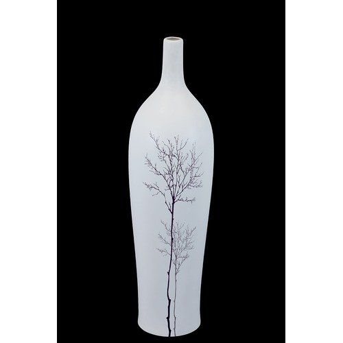 Urban Trends White Ceramic Vase I in Fall Season Tree Finish. Pictured in Large Size URT1196 Features: Vase Material: Ceramic High quality great addition for your home decor Made by a process requiring manual skills Options: Available in small and large sizes Color/Finish: White color Fall Season Tree finish. Price: $55.01