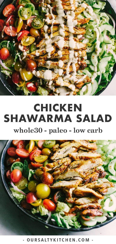 Paleo Chicken Shawarma Salad with Tahini Dressing
