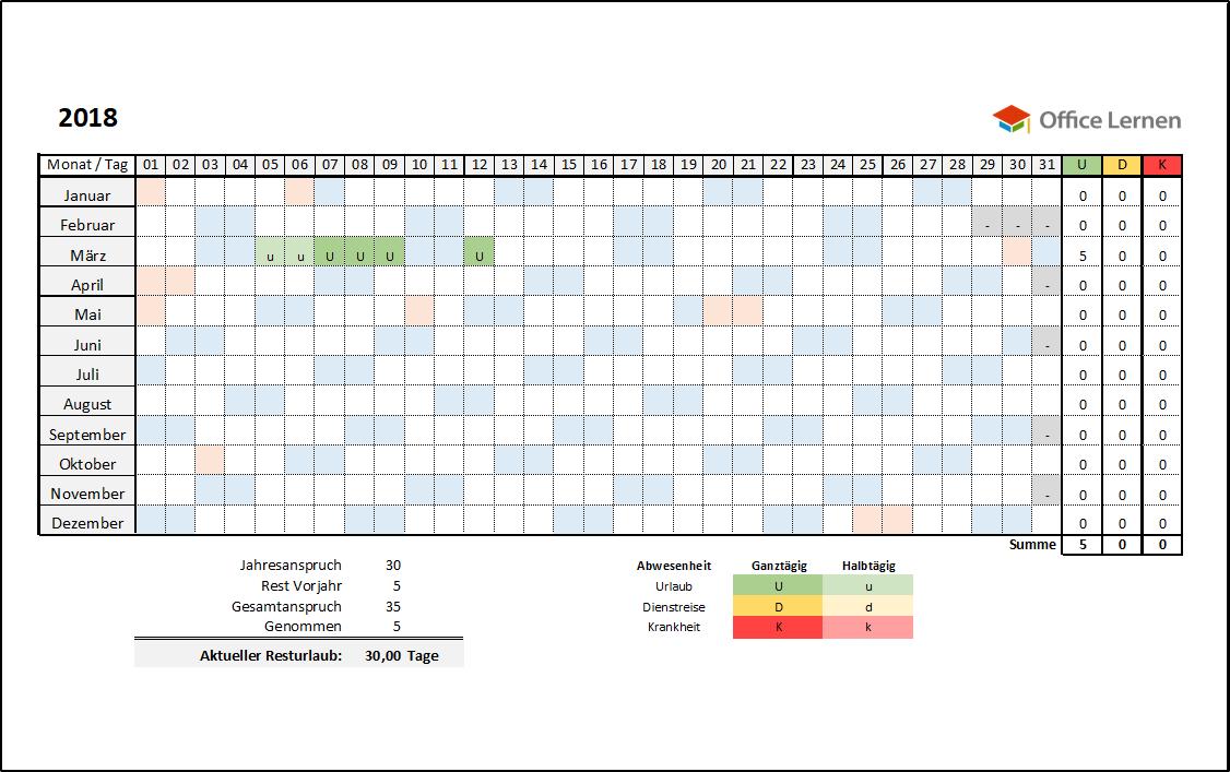 Kostenlose Excel Urlaubsplaner Vorlagen 2020 Lernen