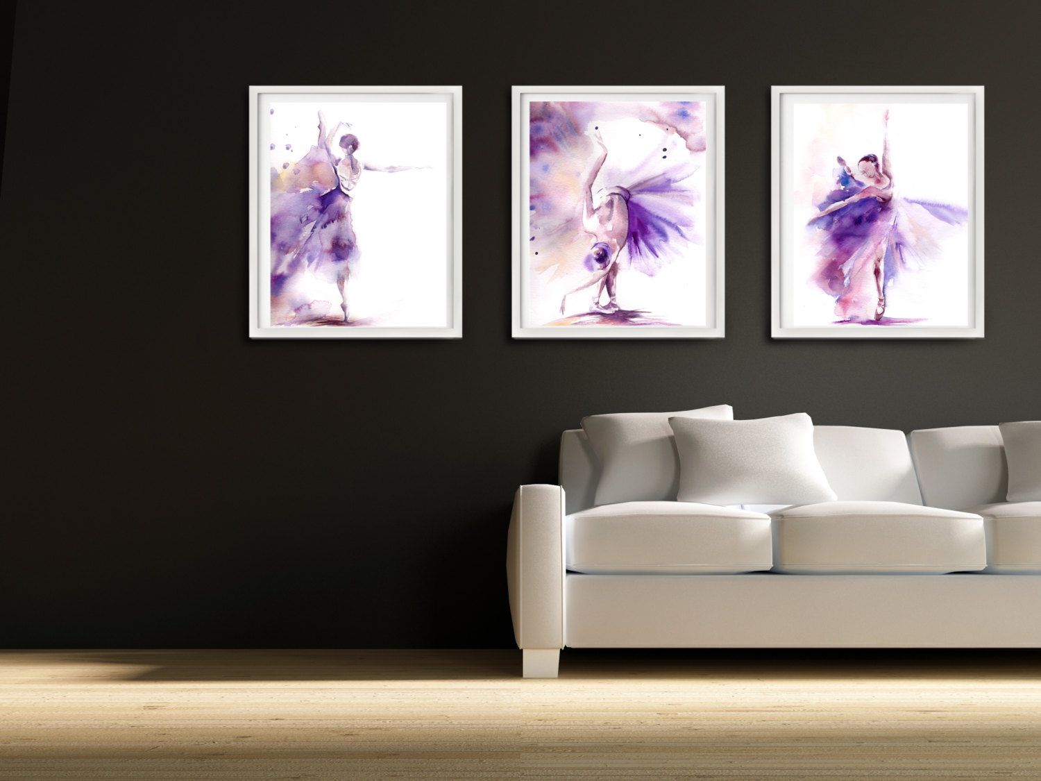 best dance art images on pinterest  dance art watercolors and  - ballet prints set of  ballerina wall art prints watercolor painting ofballerina purple art home decor