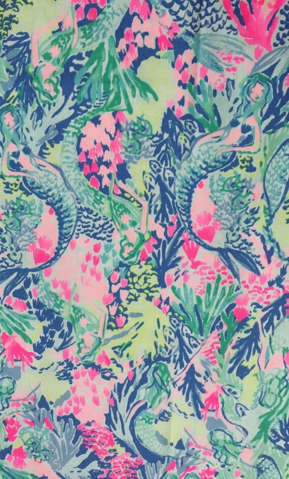 f3211e633d249d Lilly Pulitzer Mermaid Dobby Cotton Fabric Multi Mermaids Cove 1 Yard 36