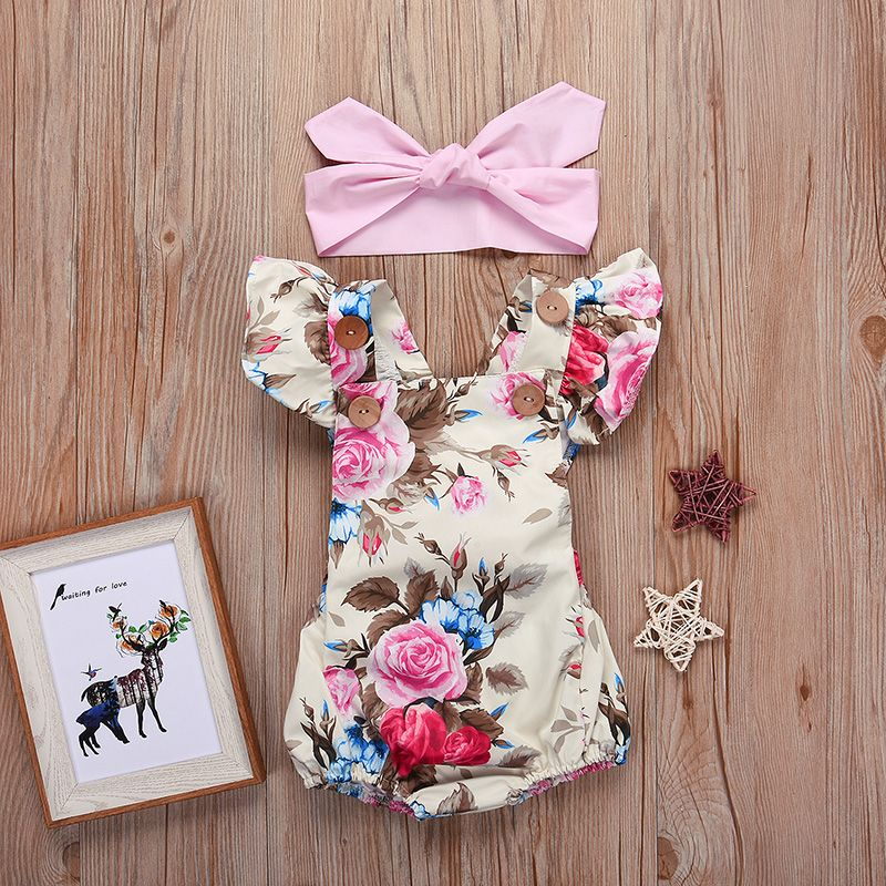6aacec0a59a Check out my new Pretty Flutter-sleeve Floral Bodysuit with Headband for Baby  Girl