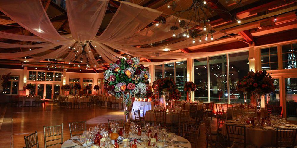 Grand Ballroom At Liberty House Restaurant Set Up For Anj Nj Wedding With Nyc Skyline Liberty House House Restaurant Skyline Wedding