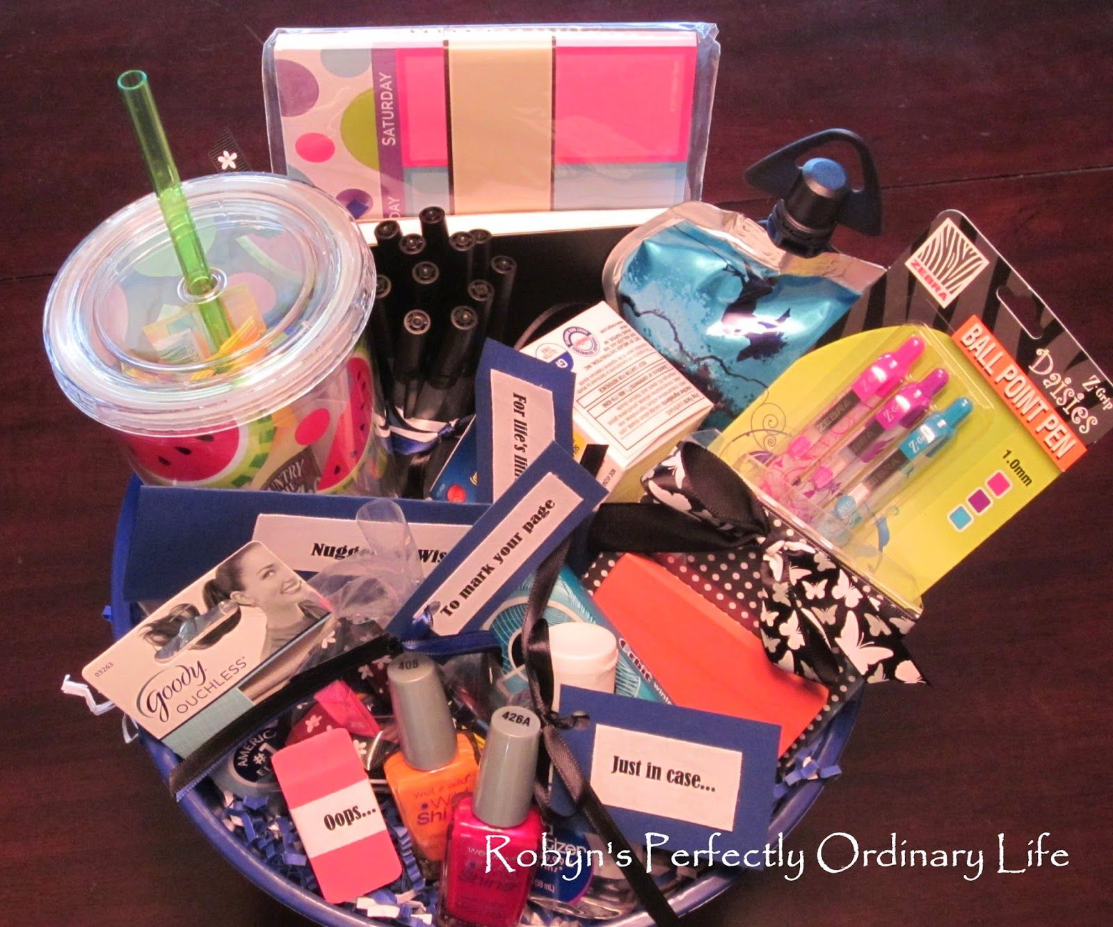Robyns perfectly ordinary life teen graduation gift basket off robyns perfectly ordinary life teen graduation gift basket off to school negle Image collections